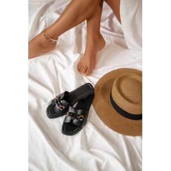 Flat Σανδάλια με Διακοσμητική Αλυσίδα - Μαύρο